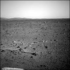 The Martian horizon as captured by Spirit's navigation camera.