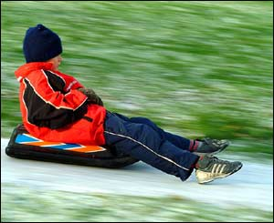 Andrew Hazard captured his son Jed playing in the snow in Griffithstown Park, Pontypool