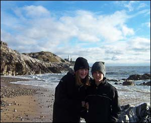 This picture was sent in by Karen Squire from Derbyshire, showing her children on a bracing visit to Mumbles over Christmas