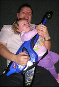 Simon Dudson sent this picture of his friend Simon celebrating the New Year with his daughter Rhiannon.