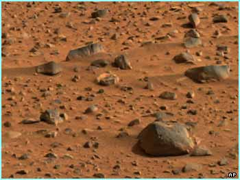 This picture, which has travelled 105m miles, shows very smooth rocks on Mars, perhaps polished by strong winds