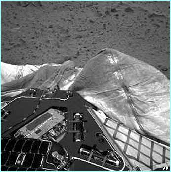 The navigation camera on board the rover shows the airbags that protected it when it fell from orbit to Mars