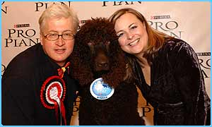 Woods poses with his owner and Crufts presenter Philippa Forrestor