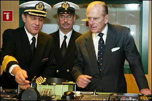 Duke of Edinburgh shown the controls of the Cunard liner