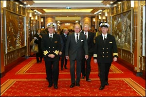 The Duke of Edinburgh inspecting the ship
