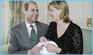 The Earl and Countess of Wessex and their daughter, Lady Louise Windsor