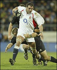 Martin Johnson charges at the New Zealand defence during the encounter in Wellington