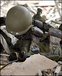 Soldier's helmet near scene of bombing