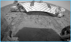 Here's the view from the rover as it left its lander - you can see the tracks!