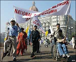 Disabled people take part in a solidarity rally in Bombay