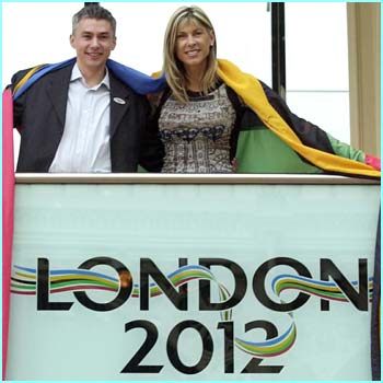 Athletes Jonathan Edwards and Sharron Davis at the launch of the campaign in London's Covent Garden