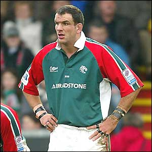 Martin Johnson in action for Leicester before announcing his international retirement