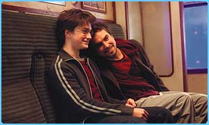 Alfonso Cuaron on the Azkaban set with Daniel Radcliffe