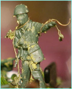 This soldier, modelled out of mushy peas belongs to the Pea Army...