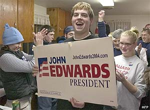 Edwards supporters at the Slater caucus