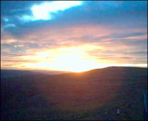 Sunset over the Black Mountains (taken using a mobile phone by Steven Howlett)