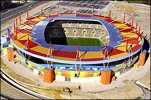 A colourful aerial view of the Estadio Municipal in Aveiro