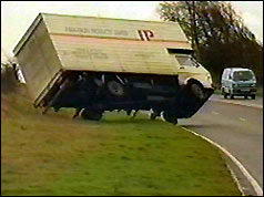 Lorry being blown over by storm-force winds
