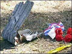 Shuttle Debris with memorial