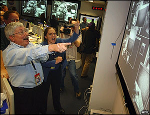 Celebrations at mission control in Pasadena, California
