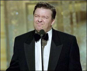 An unknown to millions of Americans, Ricky Gervais scored a remarkable double triumph at the Globes.
