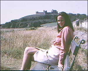Yvonne alongside the castle at Llanstefan, in Carmarthenshire (from Keith Palmer, now in Virginia)