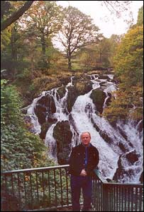 Clare Scotcher took this picture of her boyfriend Barry Cartwright in front of Swallow Falls in north Wales