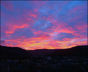Winter sunset over Treorchy by Steve Roberts