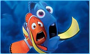 Nemo and his dad Marlin get a fright in the film