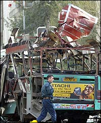 Wreckage of bus