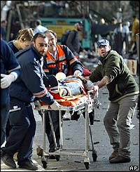 Injured person on stretcher