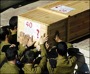 Israeli soldiers load coffin on Red Cross truck at Lebanese border