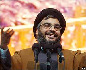 Hezbollah leader Sheikh Hassan Nasrallah speaks during a mass rally, Beirut