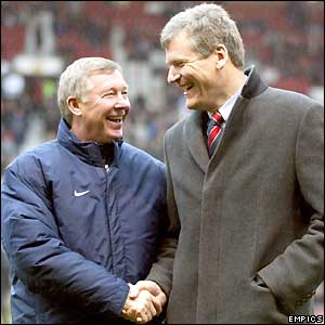 Man Utd boss Sir Alex Ferguson and chief executive David Gill pose before the match