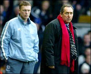 Everton boss David Moyes and Liverpool manager Gerard Houllier