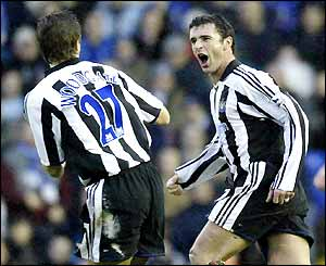 Gary Speed and Jonathan Woodgate celebrate the opening goal for Newcastle