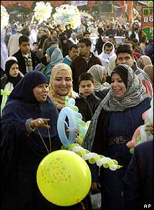 Muslims after festive prayers in Cairo