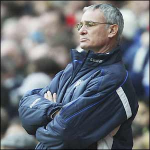 Claudio Ranieri watches the action unfold at Ewood Park