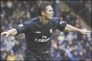 Frank Lampard celebrates scoring his first against Chelsea