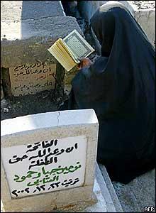 Shia Muslim women visits cemetery in Baghdad