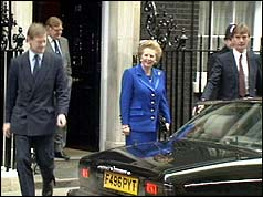 Margaret Thatcher leaving 10 Downing Street after her resignation