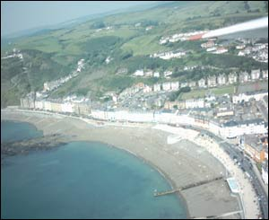 These pictures were taken from a model aeroplane above Aberystwyth (Mr B Hamer)