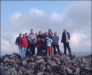 Dan Downes, from Llanrhystyd near Aberystwyth, at the top of Pumlumon Mountain whilst carrying out a sponsored walk for the cancer charity Tenovus with fellow Aberystwyth NFU members
