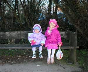 Tony Monger's granddaughters Olivia and Sophie at Cosmeston lake near Penarth