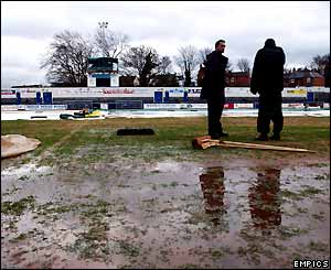 The waterlogged pitch at the Buck's Head Stadium