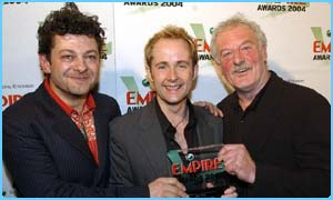 Andy Serkis (far left), Billy Boyd and Bernard Hill with the Best Film award
