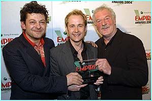 Lord of the Rings: The Return of the King won best film. Andy Serkis, Billy Boyd and Bernard Hill pose proudly with the award.