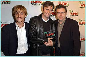 Pirates of the Caribbean stars Mackenzie Crook, Jack Davenport and Kevin McNally collect the best actor award on behalf of their co-star Johnny Depp