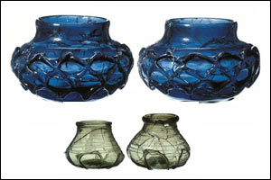 Four glass pots