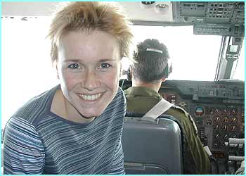 Here's Lizzie in the cockpit of the RAF Tri Star plane about to land at Ascension island on the way to Antarctica. Lizzie says this was one of her fave moment of the trip